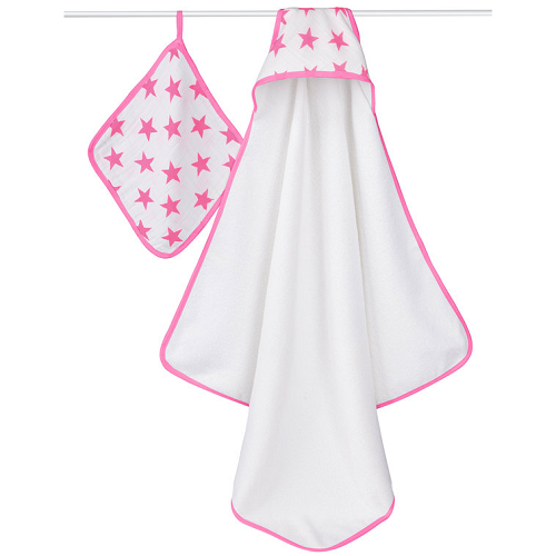 aden + anais Classic Hooded Towel & Washcloth Set (Fluro Pink - Star)