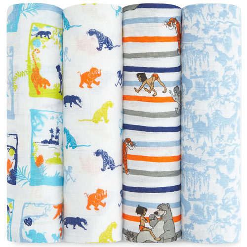 aden + anais Classic Muslin Swaddle (4pk) Disney Baby - Jungle Book