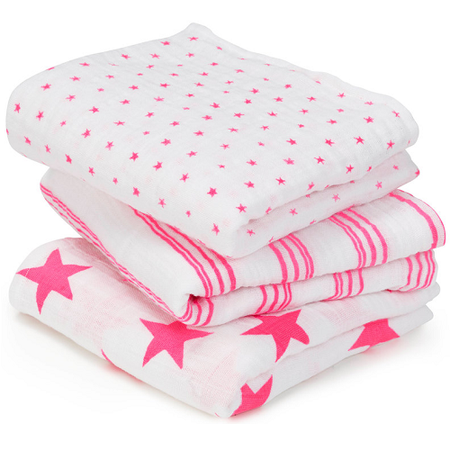 aden + anais Classic Musy Muslin Squares (3pk) Fluro Pink