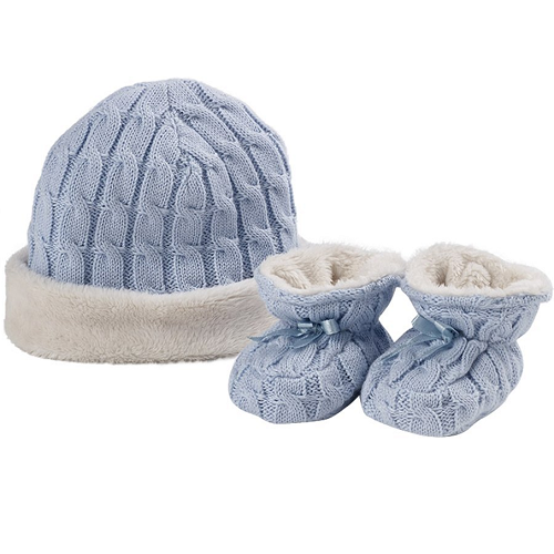 Natures Purest Natures Knits Fur Lined Cable Knit Hat & Bootees Gift Set (Blue)