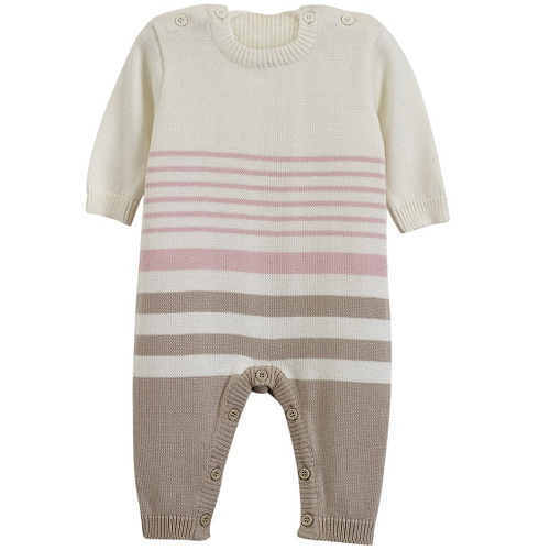 Natures Purest Natures Knits Stripe All in One (Pink)