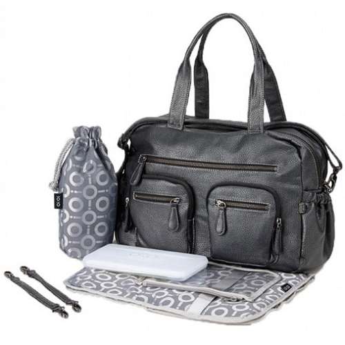 OiOi Carry All Nappy Change Bag - Charcoal Faux Buffalo (6596)