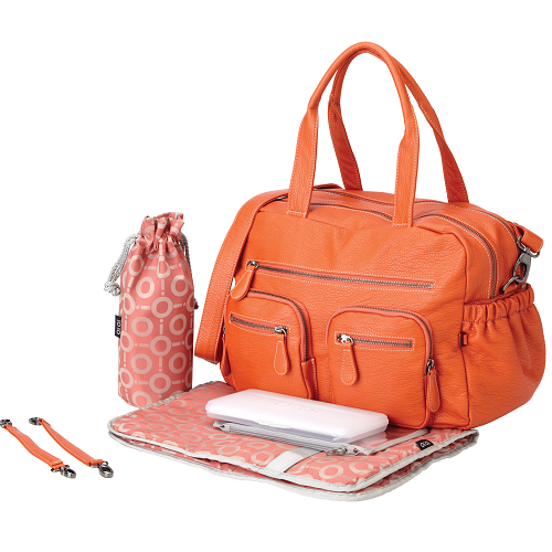 OiOi Carry All Nappy Change Bag -Tangerine Faux Buffalo with OiOi Lining (6555)