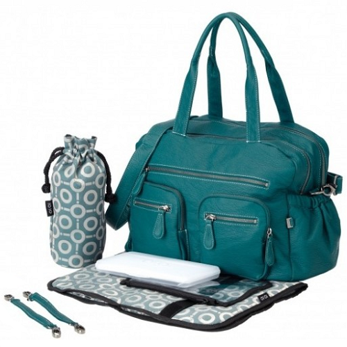 OiOi Carry All Nappy Change Bag -Turquoise Faux Buffalo (6556)