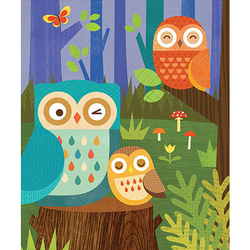 Petit  Collage 64-piece Canister Puzzle (Owl Family)