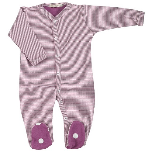 Pigeon Organics Stripes All-in-One Sleepsuit (Raspberry)