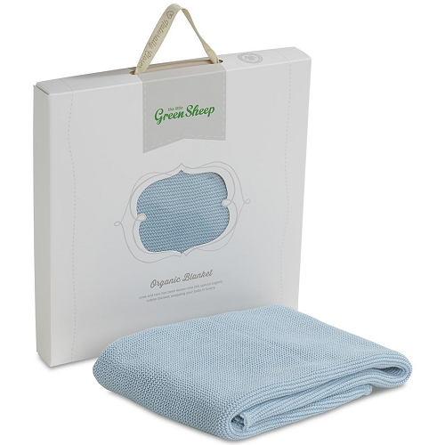 The Little Green Sheep Organic Knitted Baby Blanket (Duck Egg Blue)